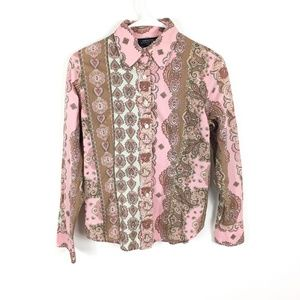Jones New York Pink Paisley Boho Button Blouse MP